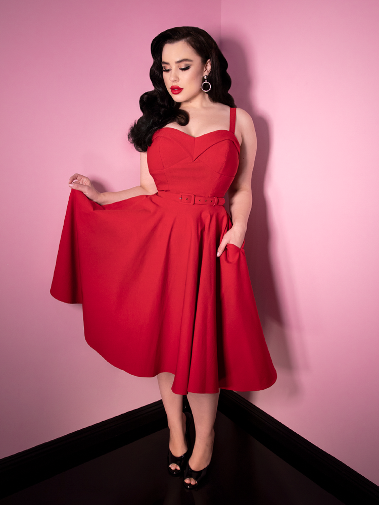 Maneater Swing Dress in Red - Vixen by Micheline Pitt