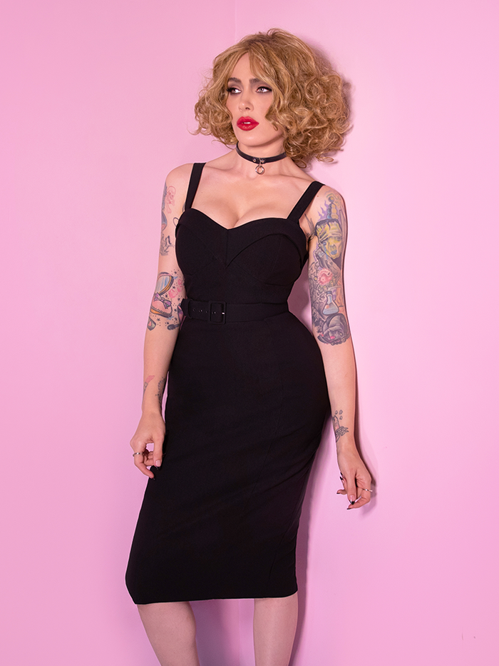 PRE-ORDER - Miss Kitty Maneater Wiggle Dress in Black - Vixen by Micheline Pitt