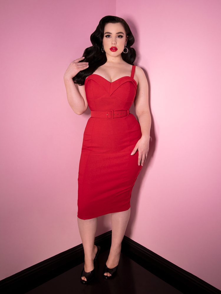 Maneater Wiggle Dress in Red Bengaline - Vixen by Micheline Pitt
