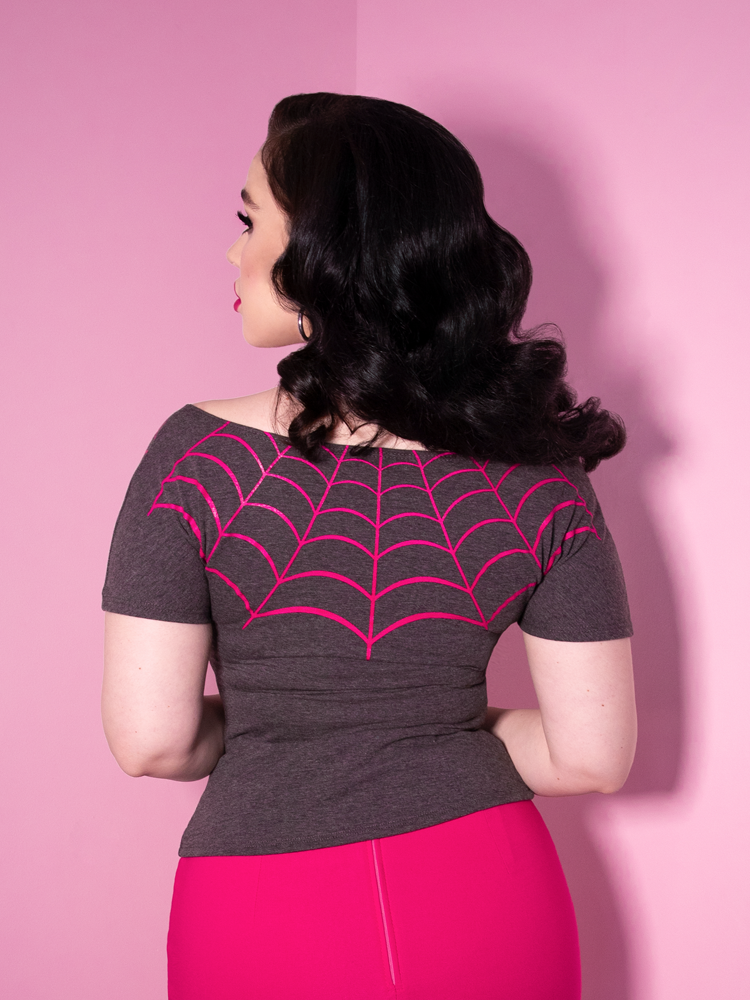 FINAL SALE - Mantrap Spiderweb Top in Grey - Vixen by Micheline Pitt
