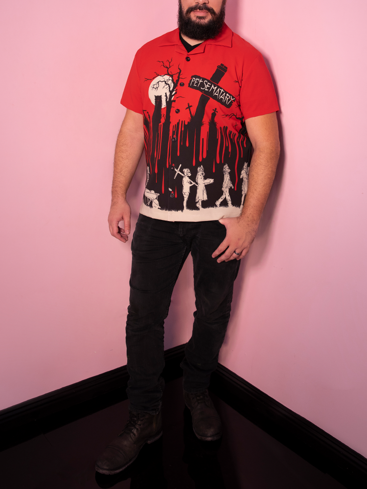 Male model wearing Pet Sematary retro style shirt from Vixen Clothing.