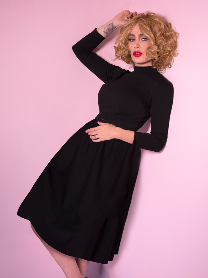 PRE-ORDER - Miss Kitty Bad Girl Swing Dress in Black - Vixen by Micheline Pitt
