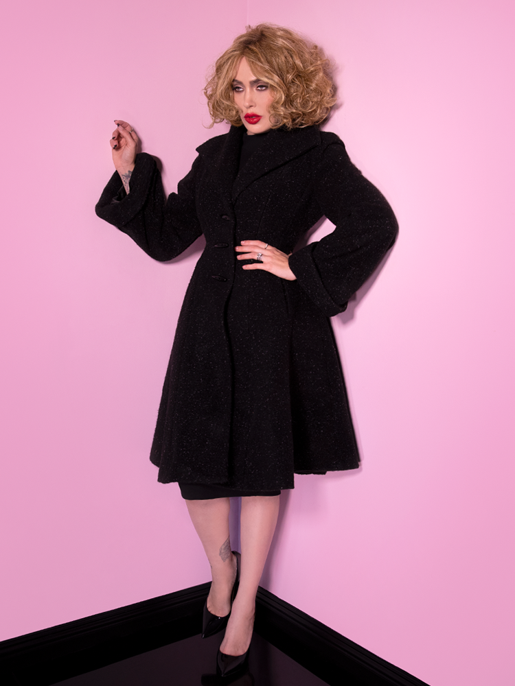 PRE-ORDER - Miss Kitty Coat in Black - Vixen by Micheline Pitt