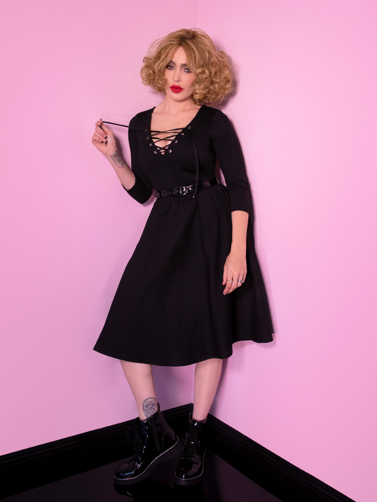 PRE-ORDER - Miss Kitty Swing Dress in Black - Vixen by Micheline Pitt