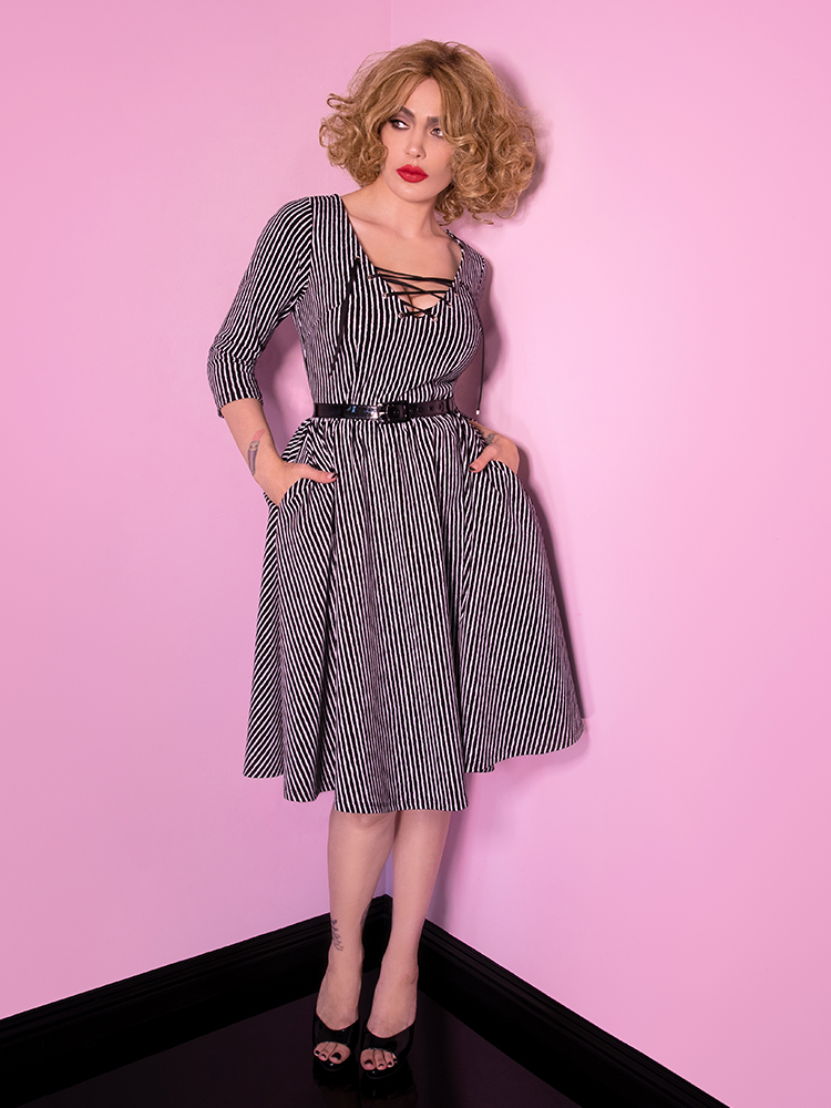 Miss Kitty Swing Dress in Black Stripes - Vixen by Micheline Pitt