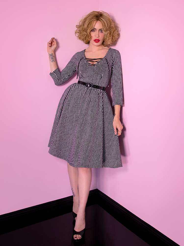 PRE-ORDER - Miss Kitty Swing Dress in Black Stripes - Vixen by Micheline Pitt