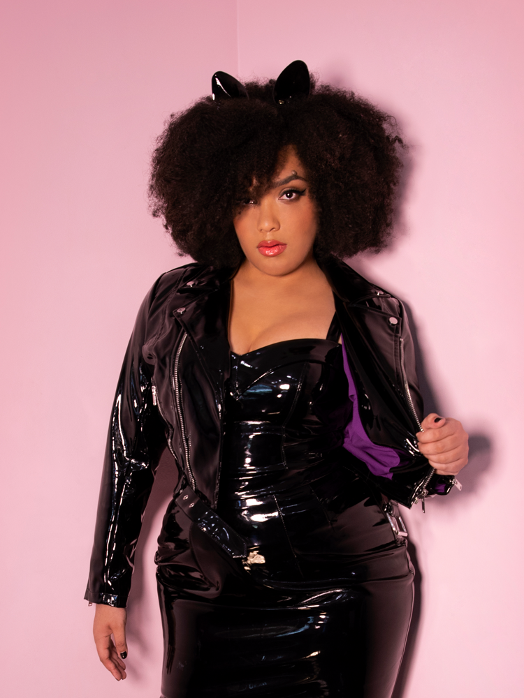 Miss Kitty Cropped Motorcycle Jacket in Black Vinyl - Vixen by Micheline Pitt