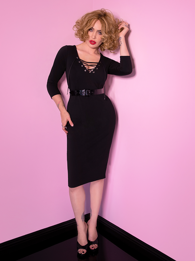 PRE-ORDER - Miss Kitty Wiggle Dress in Black - Vixen by Micheline Pitt