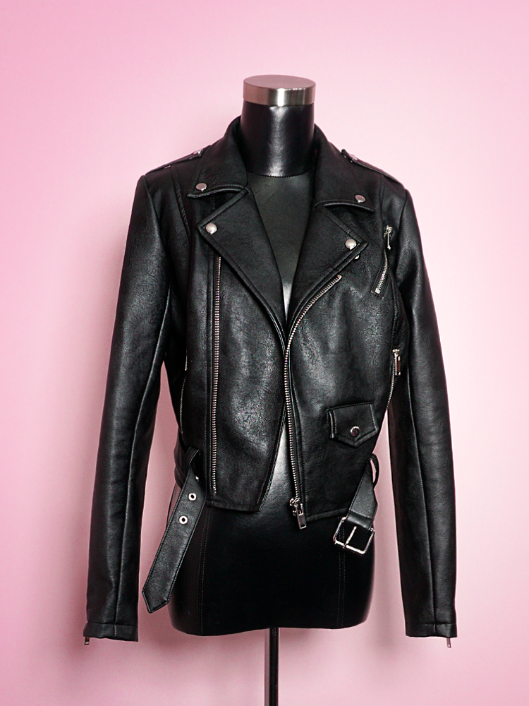 Solo product shot of the Bad Girl Cropped Motorcycle Jacket in Vegan Leather.