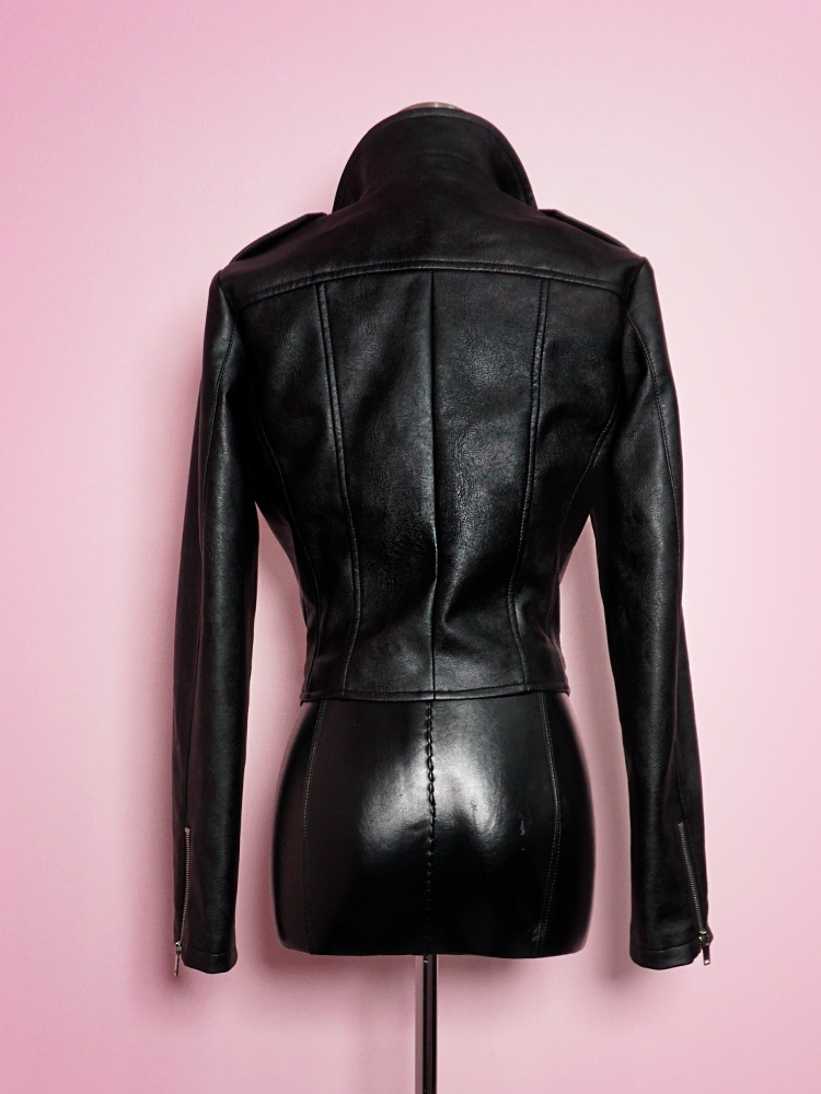 Back shot of the Bad Girl Cropped Motorcycle Jacket in Vegan Leather from Vixen Clothing.