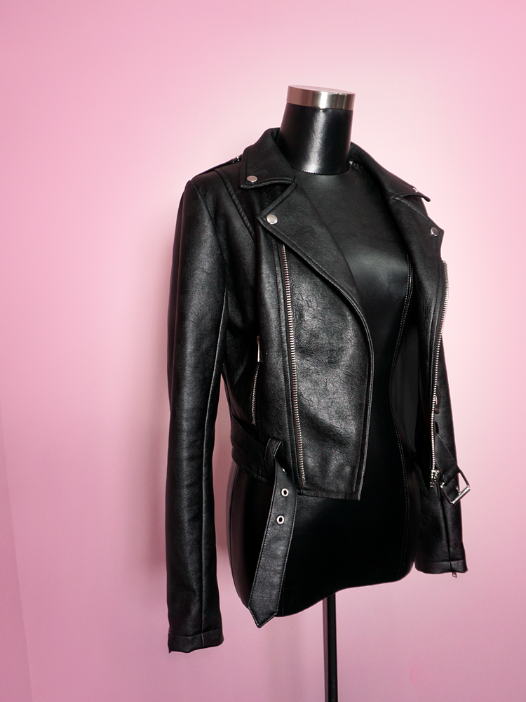 Product shot of the left side of the Bad Girl Cropped Motorcycle Jacket in Vegan Leather from Vixen Clothing.