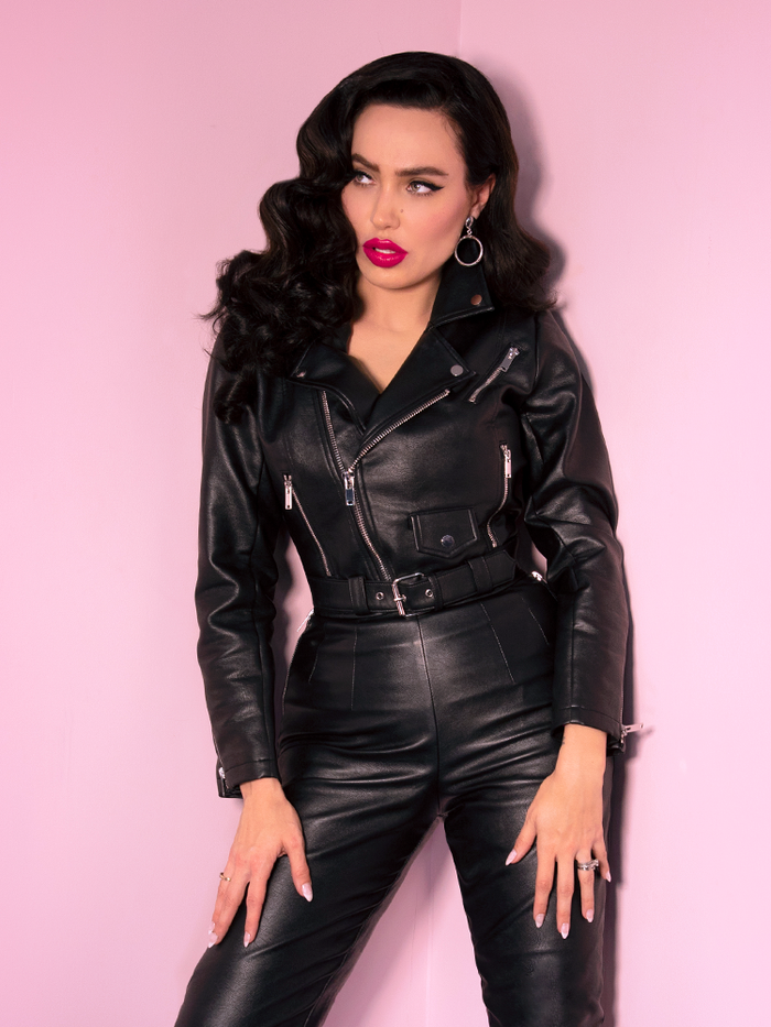 Bad Girl Cropped Motorcycle Jacket in Vegan Leather - Vixen by Micheline Pitt