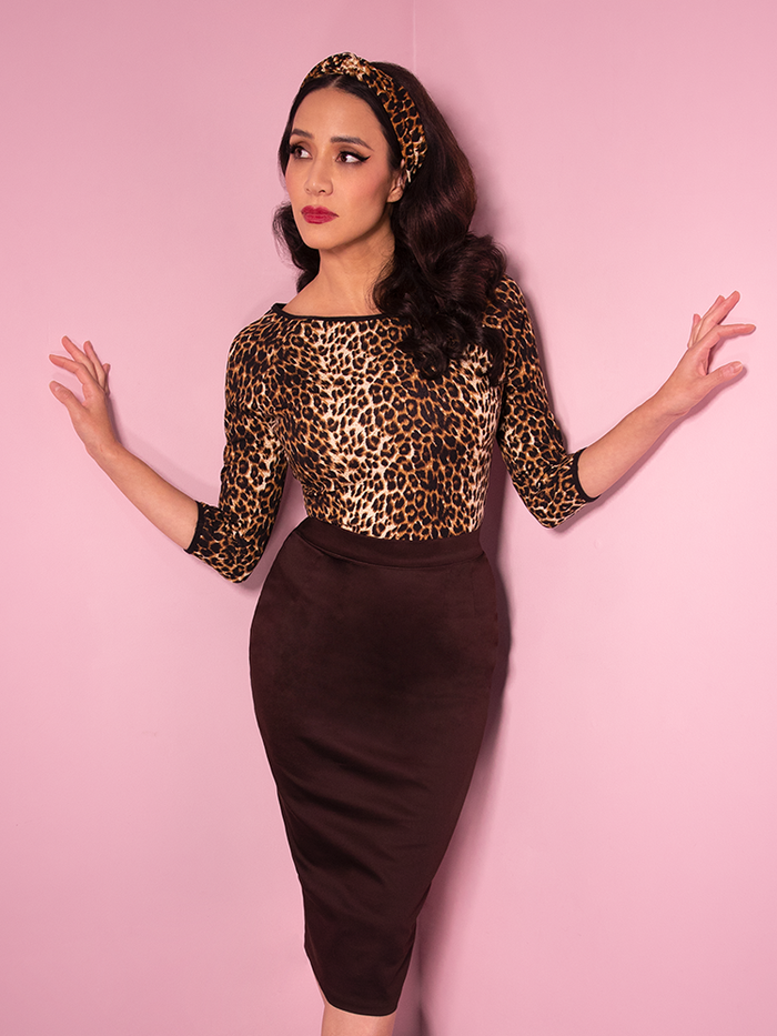 Milynn Moon wearing the Vixen Pencil Skirt in Chocolate Brown with Leopard top and headband.
