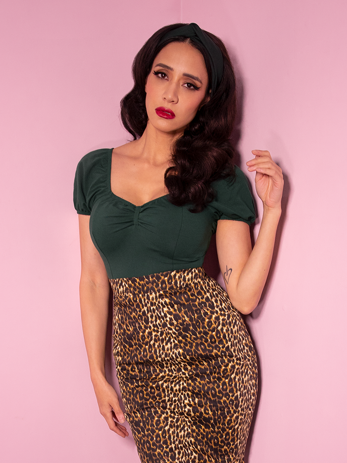 Powder Puff Top in Hunter Green - Vixen by Micheline Pitt