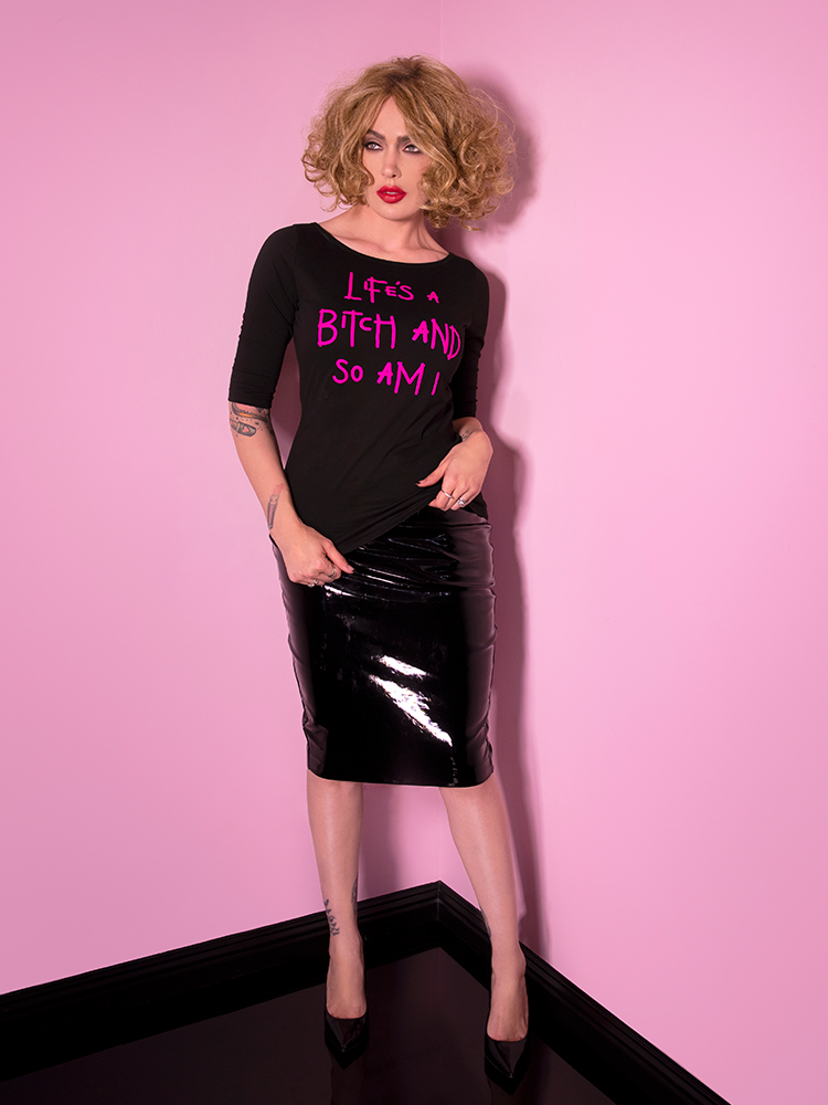 Miss Kitty Pencil Skirt in Black Vinyl - Vixen by Micheline Pitt