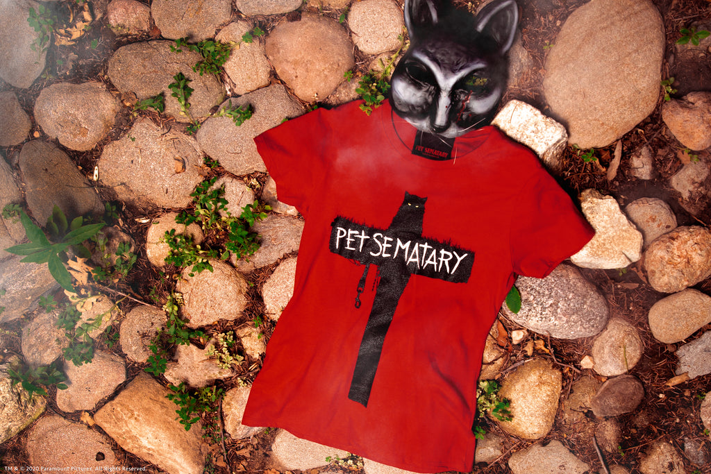 Close-up shot of Pet Sematary T-Shirt in red from Vixen Clothing.