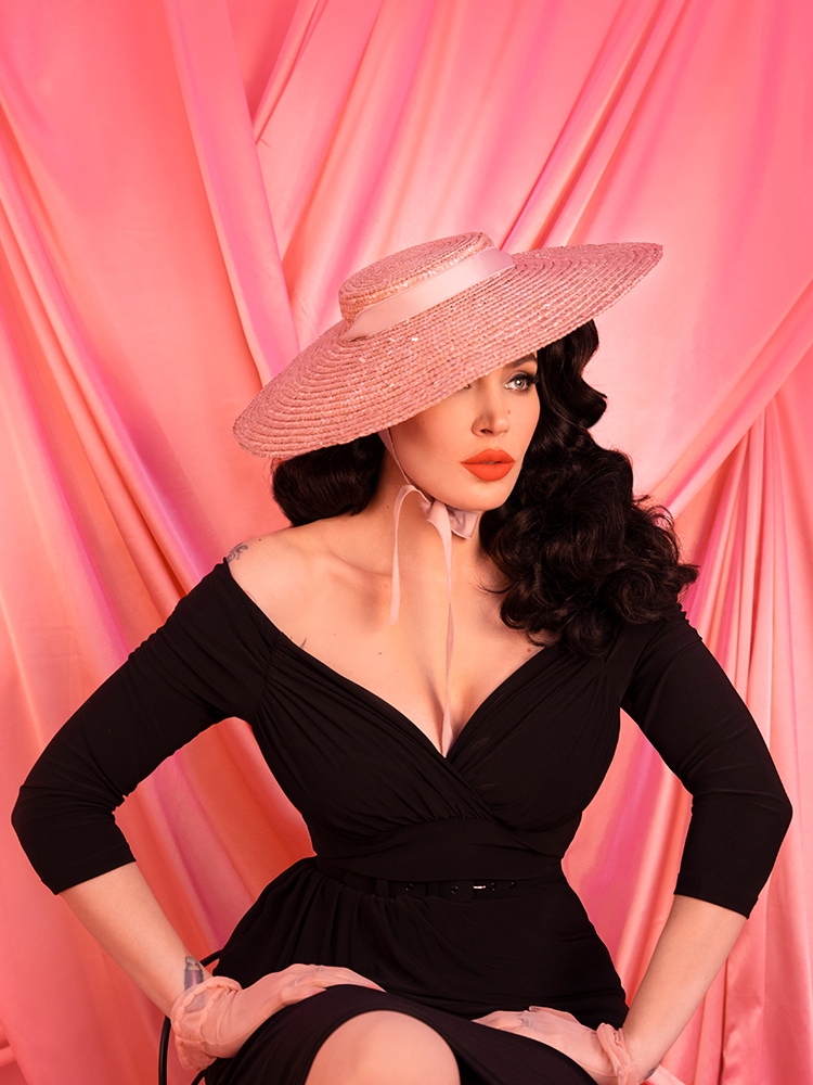 PRE-ORDER - Vintage Sun Hat in Blush Pink - Vixen by Micheline Pitt