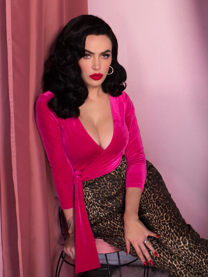 Pre-Order - Wrap Top in Hot Pink Velvet - Vixen by Micheline Pitt