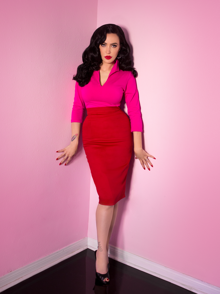 Vixen Pencil Skirt in Red - Vixen by Micheline Pitt