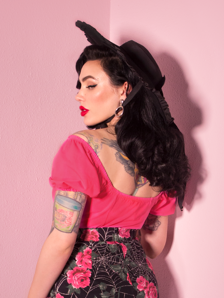 FINAL SALE - Powder Puff Top in Rose Red - Vixen by Micheline Pitt