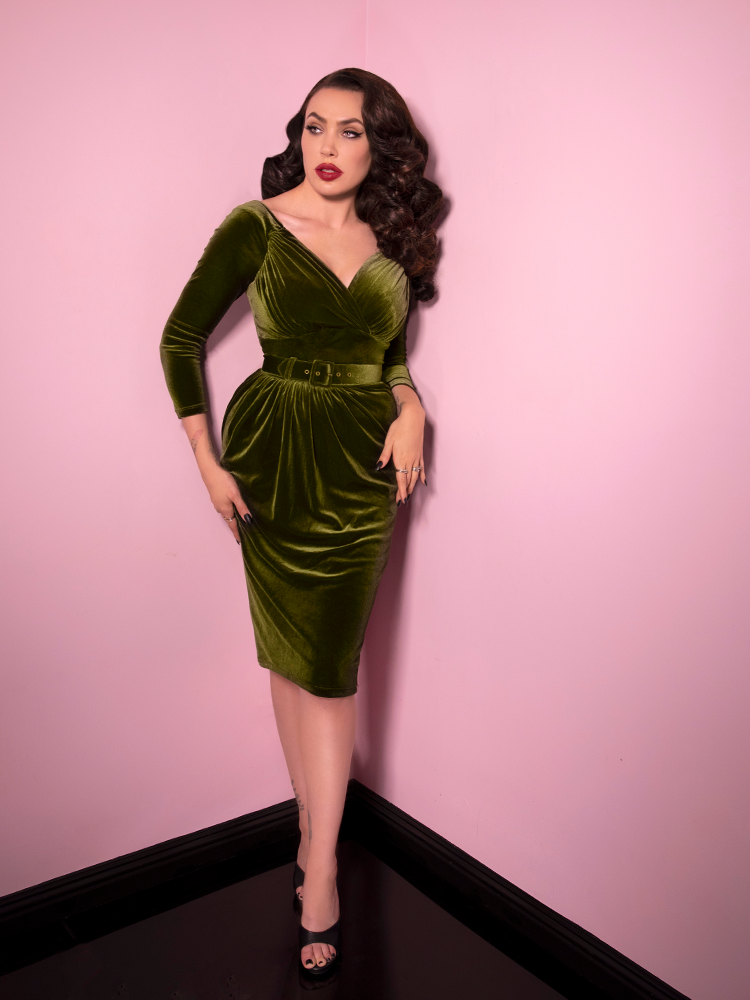 Starlet Wiggle Dress in Olive Green being worn by Micheline Pitt.