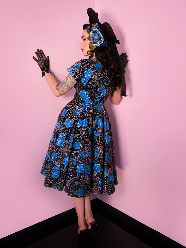 Vanity Fair Dress in Blue Spider Web - Vixen by Micheline Pitt