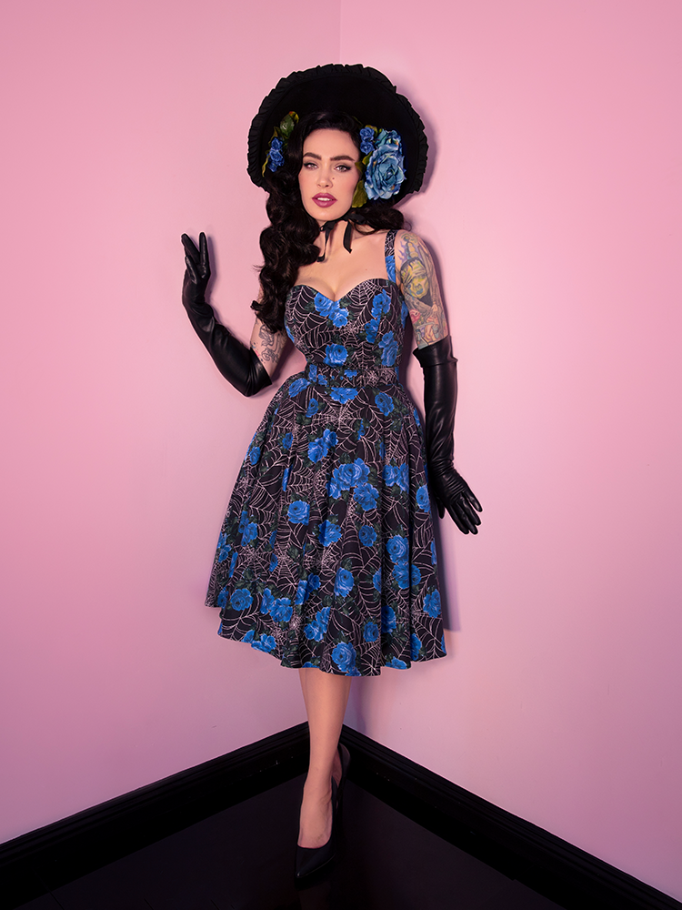 Sweetheart Circle Dress in Blue Spider Web - Vixen by Micheline Pitt