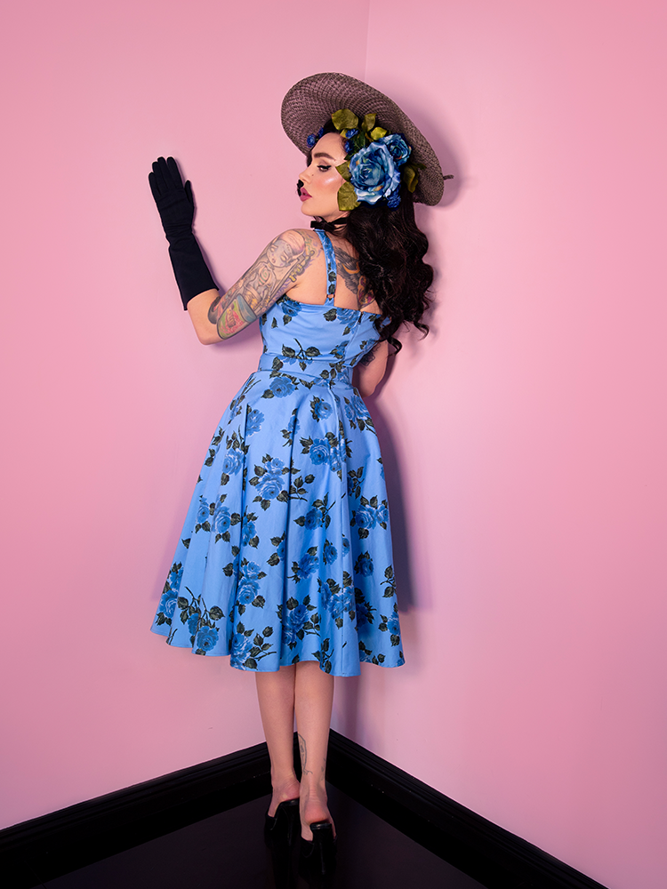 Sweetheart Circle Dress in Blue Roses - Vixen by Micheline Pitt