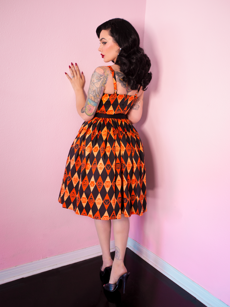 FINAL SALE - Ben Cooper Sweetheart Swing Dress in Trick R Treat Print - Vixen by Micheline Pitt