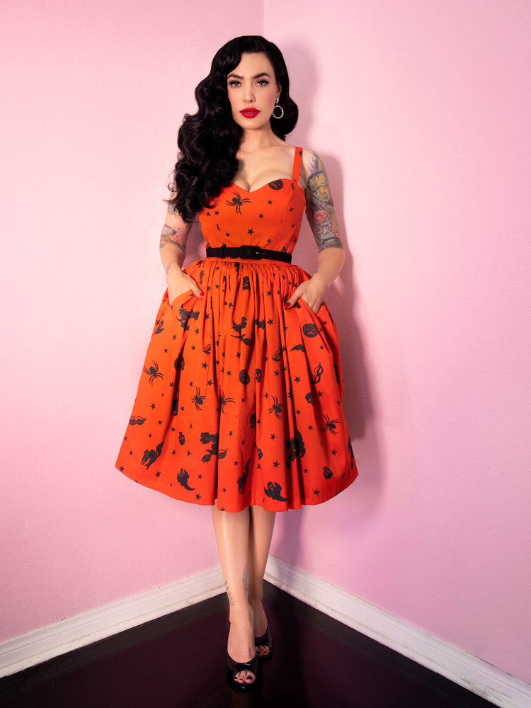 FINAL SALE - Ben Cooper Sweetheart Swing Dress in Vintage Halloween Print - Vixen by Micheline Pitt
