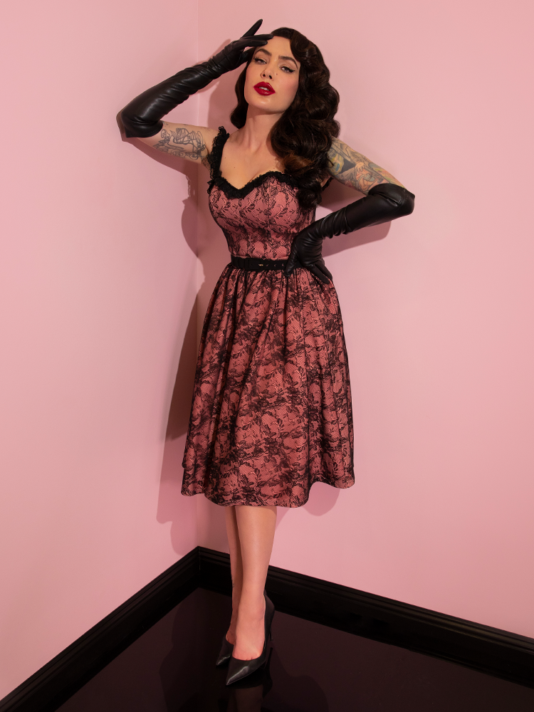 Micheline Pitt showing off her newest retro inspired outfit from Vixen Clothing.