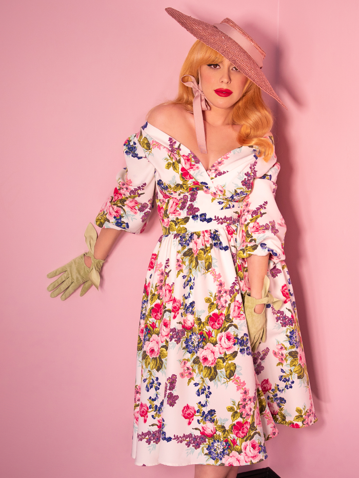 PRE-ORDER - Vacation Swing Skirt in White Vintage Floral Print - Vixen by Micheline Pitt