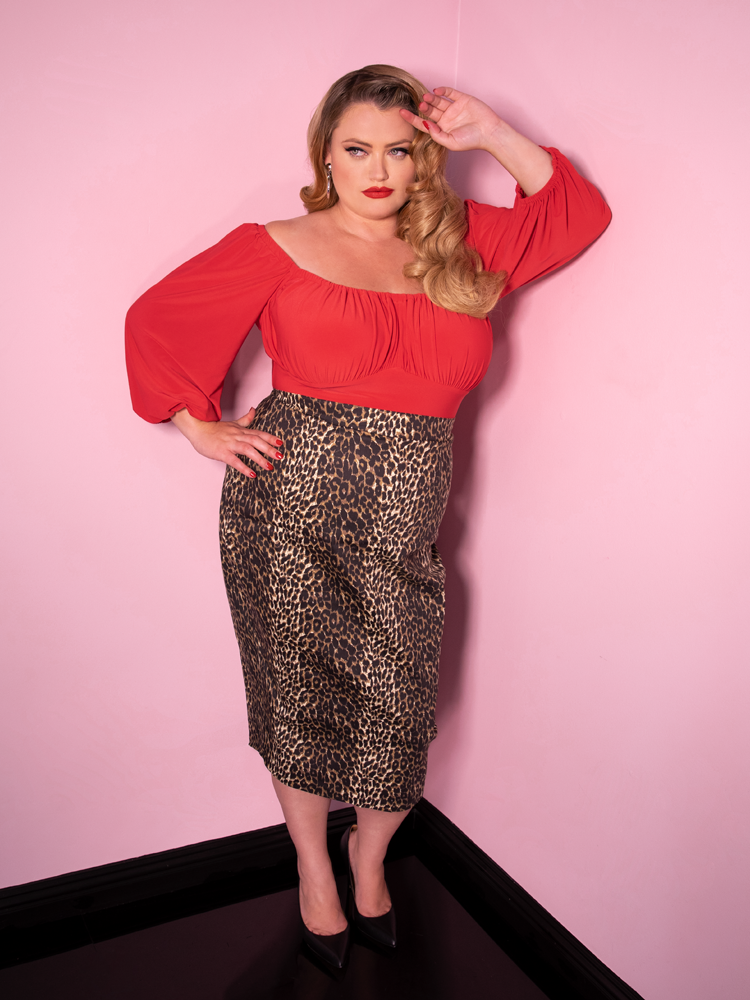 Vixen Pencil Skirt in Wild Leopard Print - Vixen by Micheline Pitt