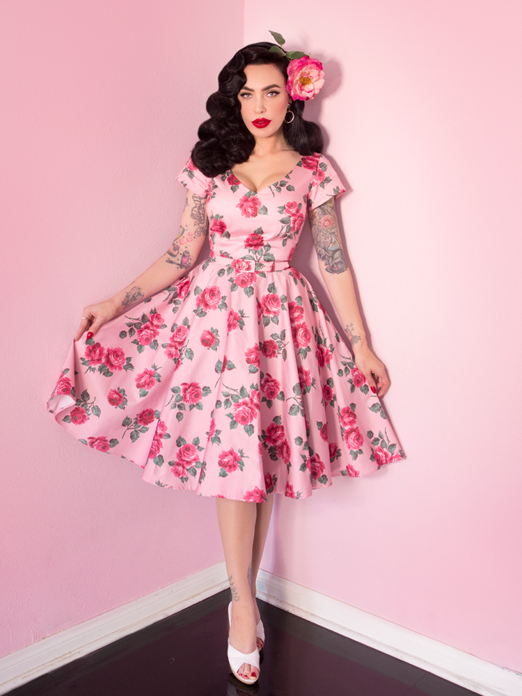 FINAL SALE - Vanity Fair Dress in Vintage Roses - Vixen by Micheline Pitt