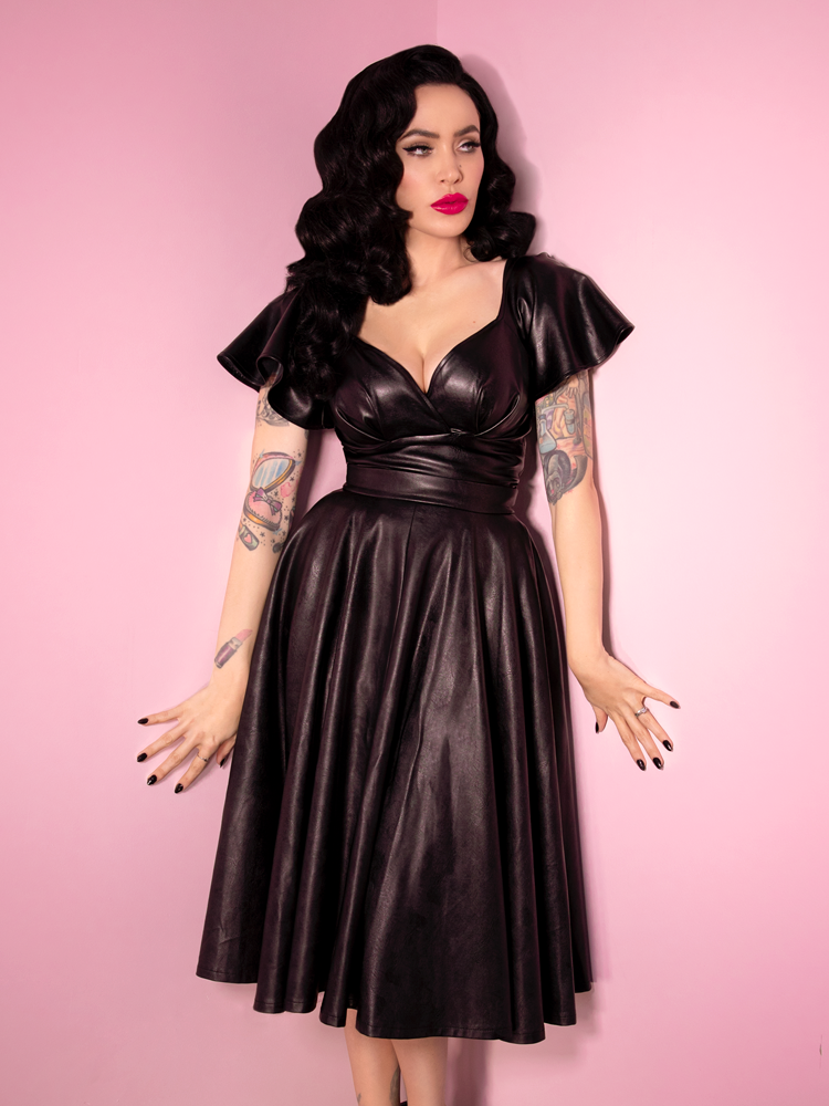 Vixen model and owner Micheline Pitt looks divine in the Bad Girl Circle skirt in Vegan Leather and matching top from Vixen Clothing - her own retro and vintage clothing label.