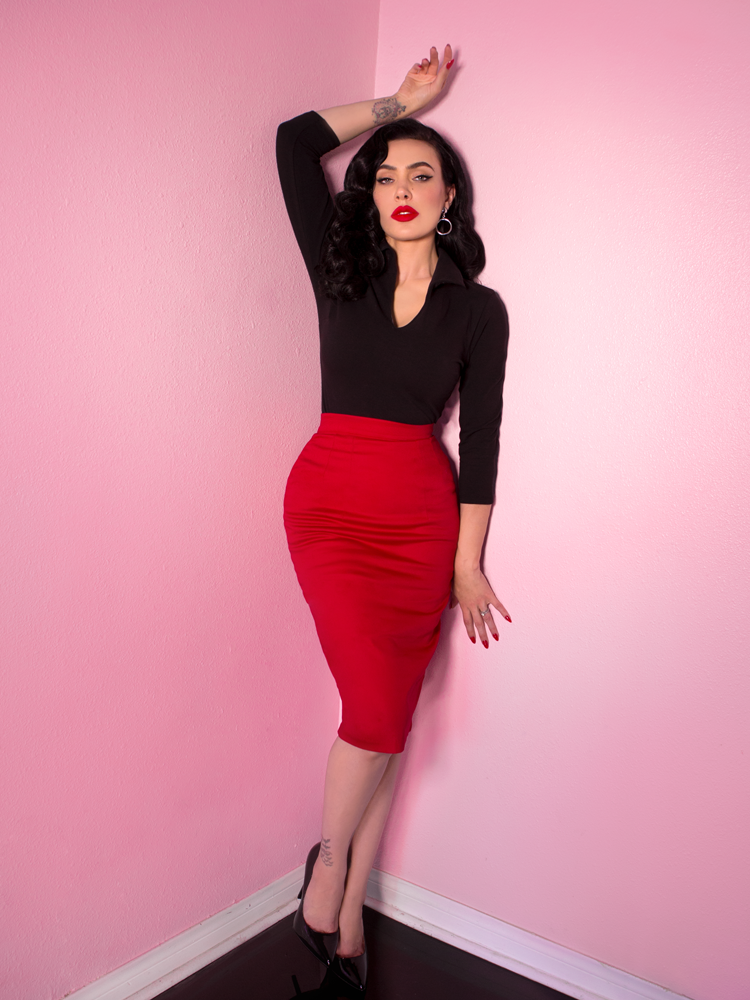 COMING BACK SOON - Vixen Pencil Skirt in Red - Vixen by Micheline Pitt