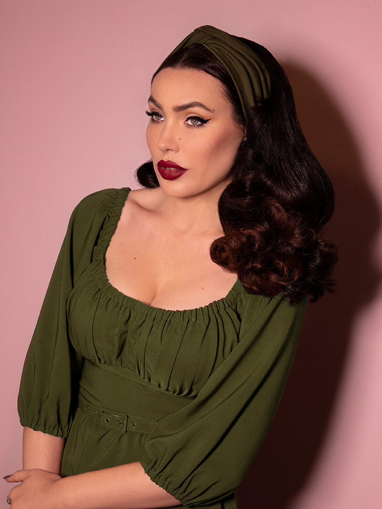 PRE ORDER - Vintage Style Knot Headband in Olive Green - Vixen by Micheline Pitt