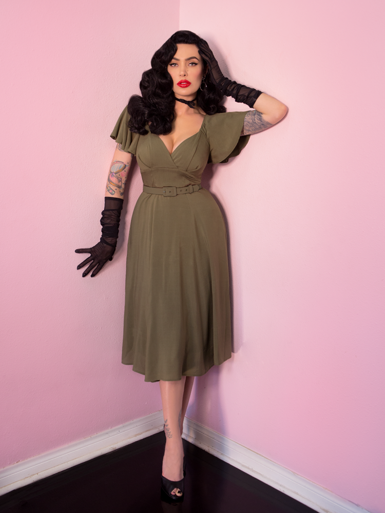 Babydoll Dress in Olive Rayon - Vixen by Micheline Pitt