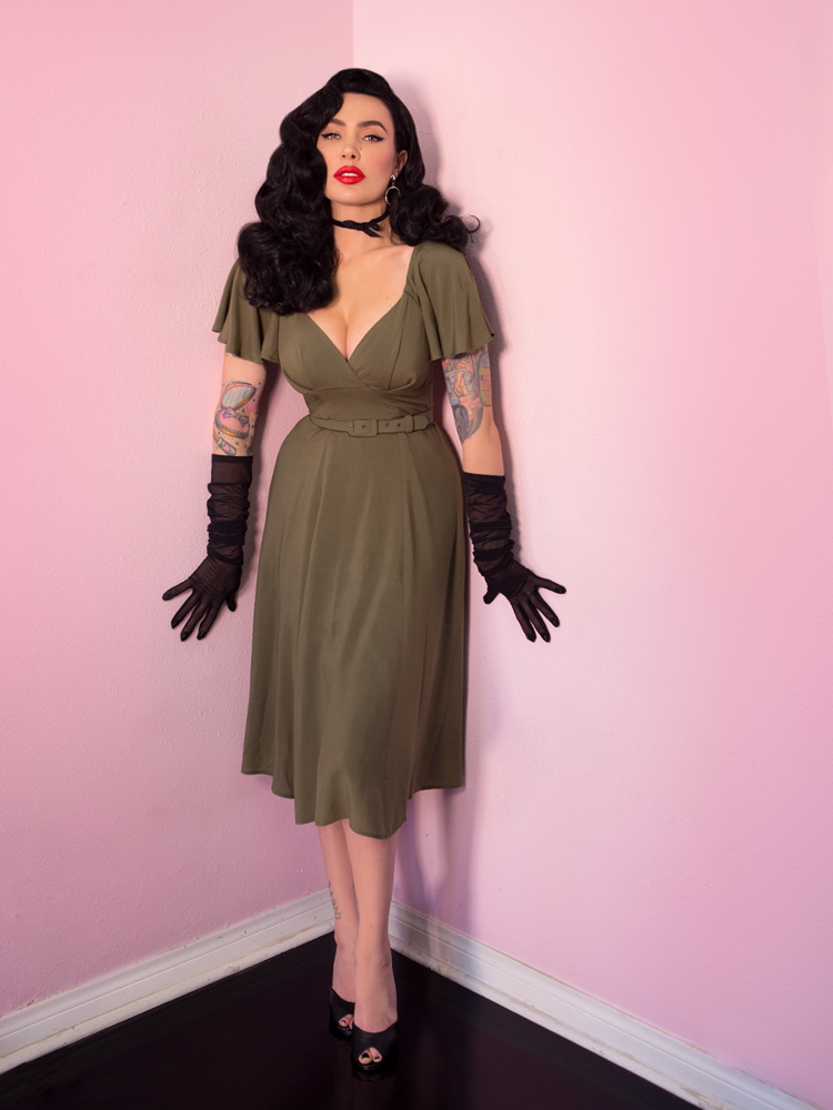 FINAL SALE - Babydoll Dress in Olive Rayon - Vixen by Micheline Pitt