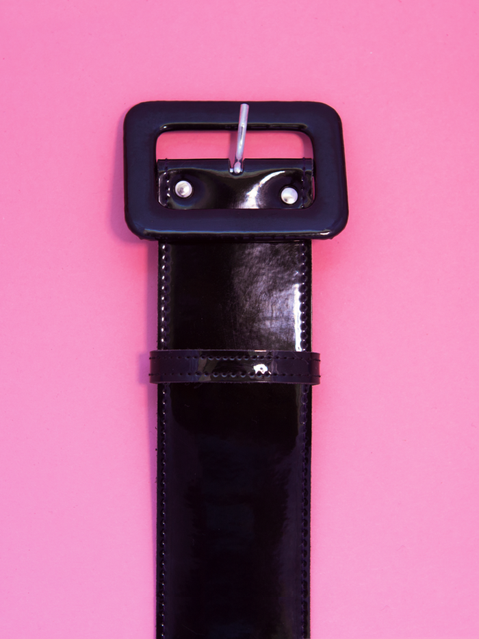 One and a half inch belt in black vinyl by Vixen Clothing