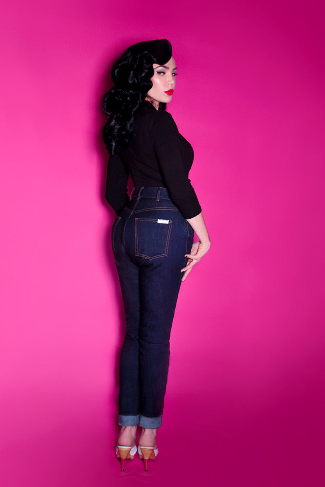 High Waisted Indigo Jeans - Regular Cut - Bad Girl Denim