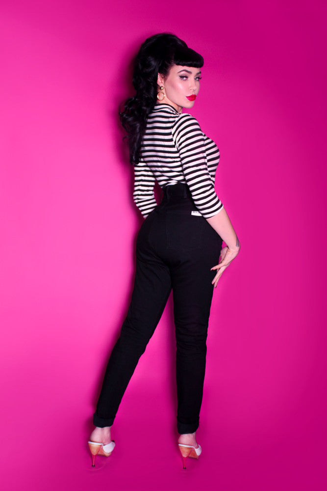 FINAL SALE - High Waisted Jeans in Black - Petite Cut - Bad Girl Denim