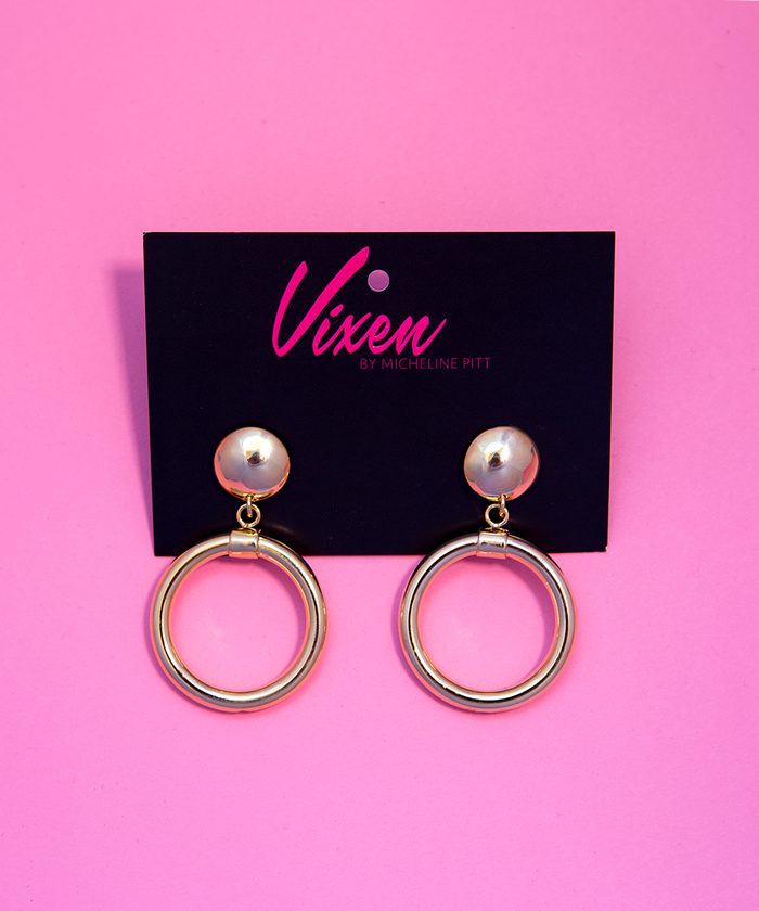 Bad Girl Hoop Earrings in Gold - Vixen by Micheline Pitt