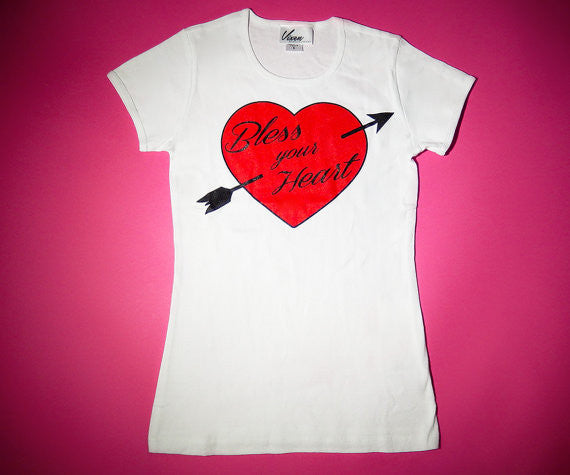 Bless Your Heart T-Shirt in White - Vixen by Micheline Pitt