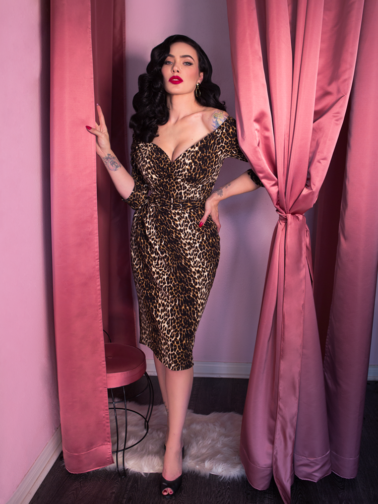 Starlet Wiggle Dress in Leopard Print - Vixen by Micheline Pitt