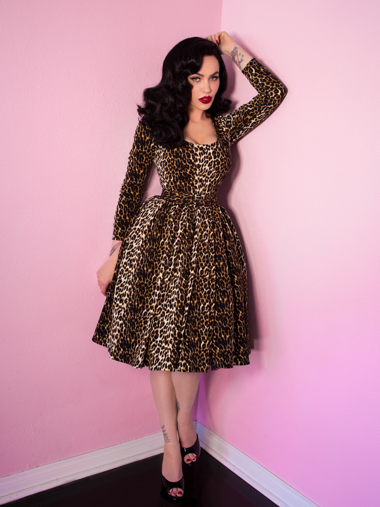a7d7bd1ad9 FINAL SALE - Troublemaker Swing Dress in Leopard Print - Vixen by Micheline  Pitt
