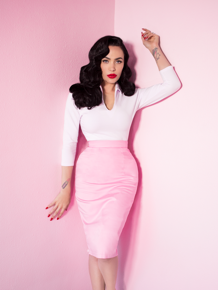 Limited Edition - Vixen Pencil Skirt in Powder Pink - Vixen by Micheline Pitt