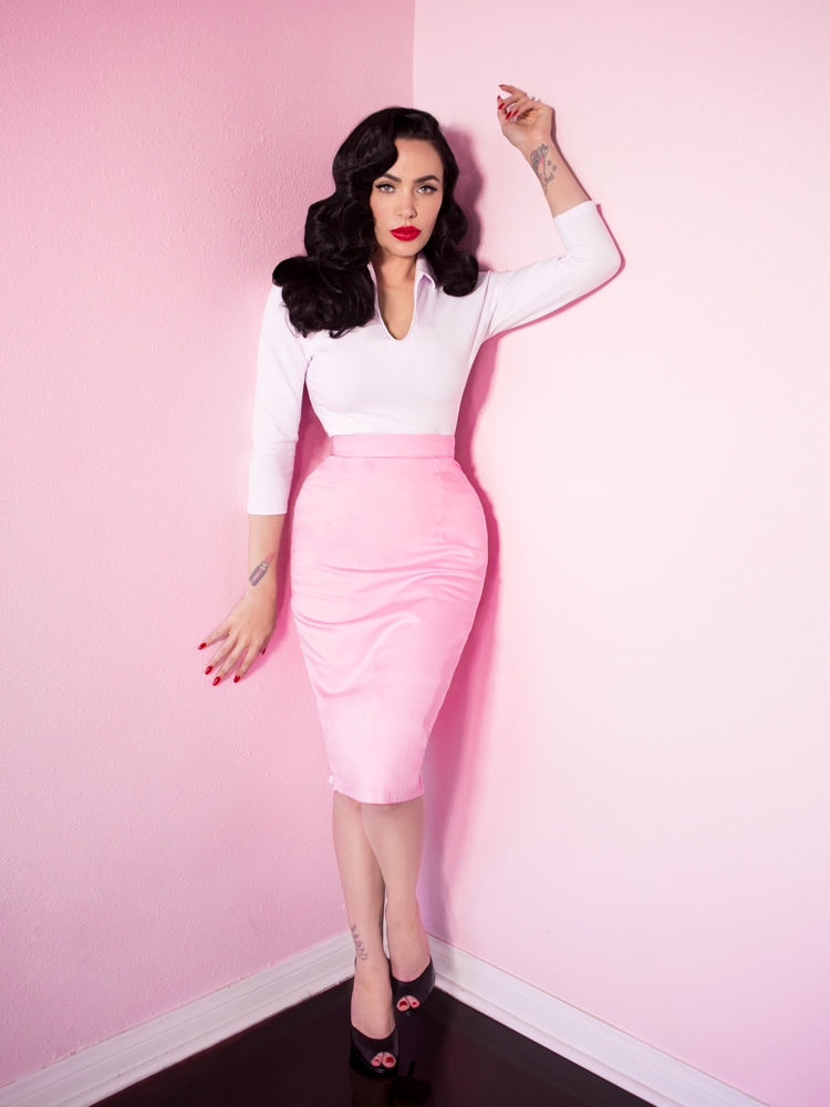 FINAL SALE - Vixen Pencil Skirt in Powder Pink - Vixen by Micheline Pitt