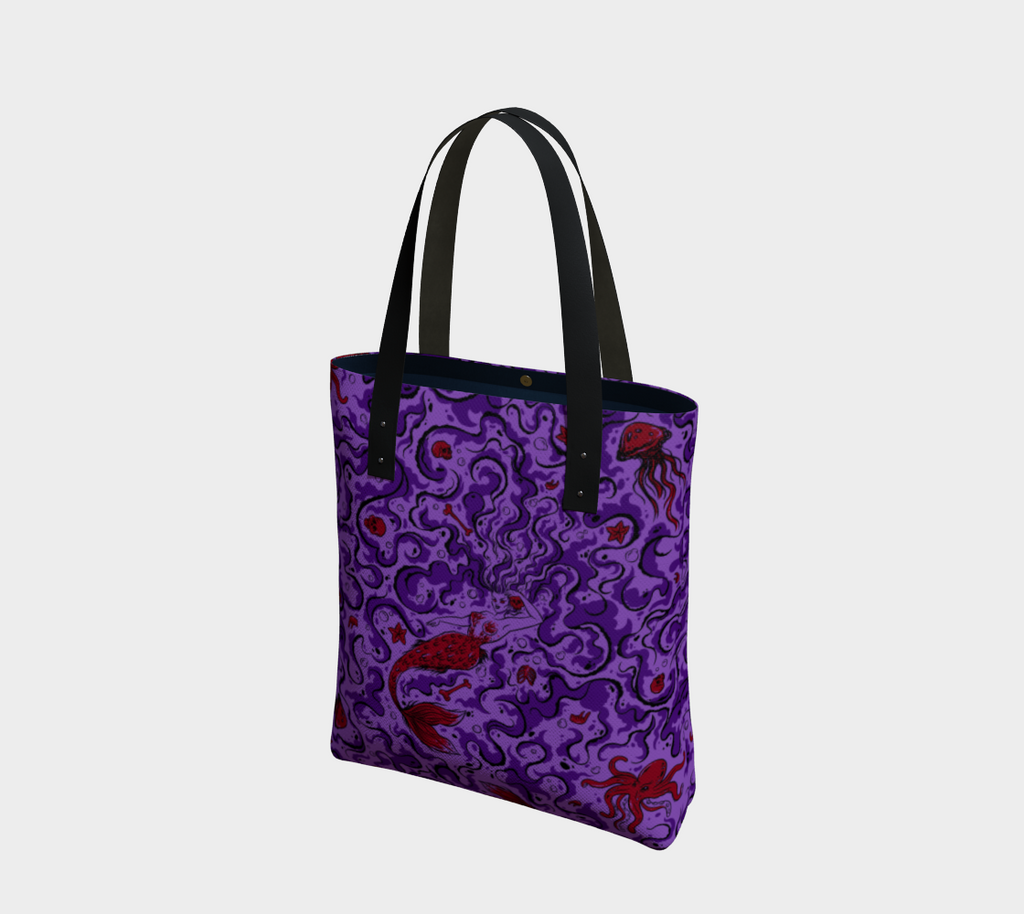 Novelty print bag featuring Sea Siren Print sitting upright against a fully white background.