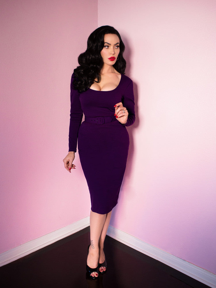 Troublemaker Wiggle Dress in Purple - Vixen by Micheline Pitt